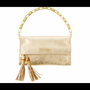 EUC Lilly Pulitzer Banyan Gold Leather Clutch